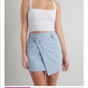 Garage Clothing Asymmetric Denim Wrap Mini Skirt